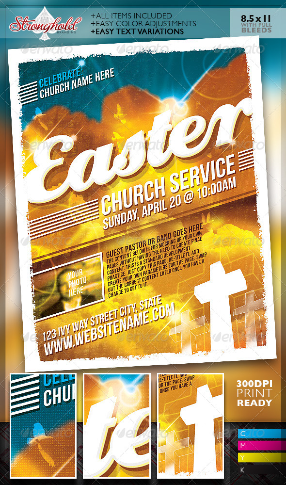 GraphicRiver Easter Sunday Church Service Flyer Template 7104403