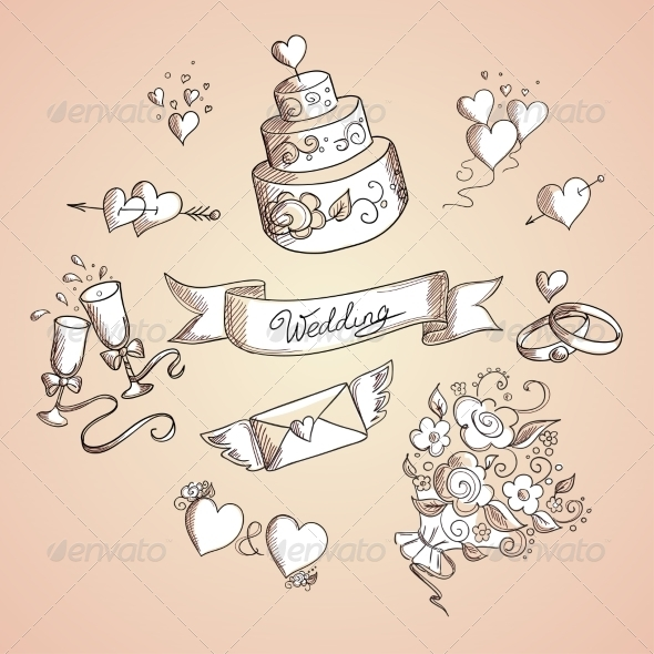 GraphicRiver Sketch of Wedding Design Elements 7104719