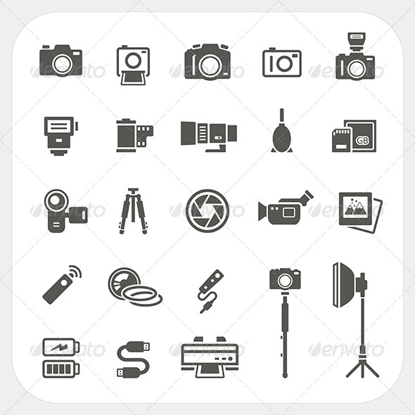 GraphicRiver Camera Icons and Camera Accessories Icons Set 7104742