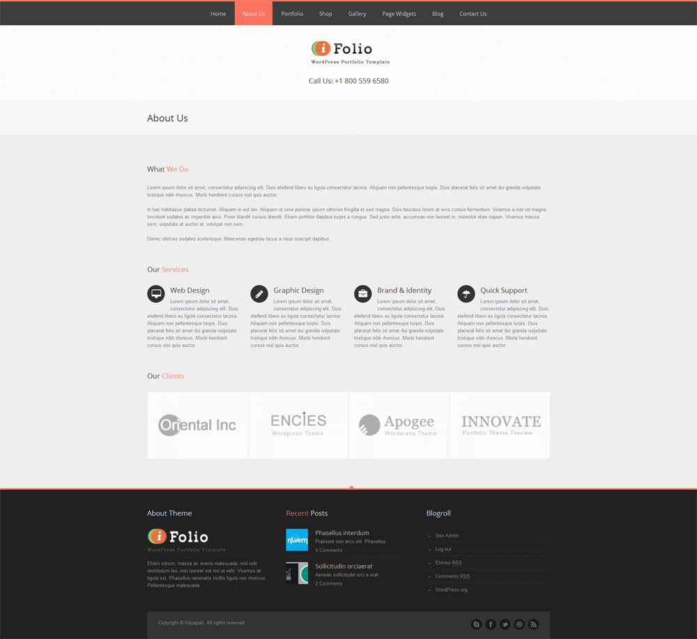 iFolio - Clean WordPress CMS Portfolio Theme