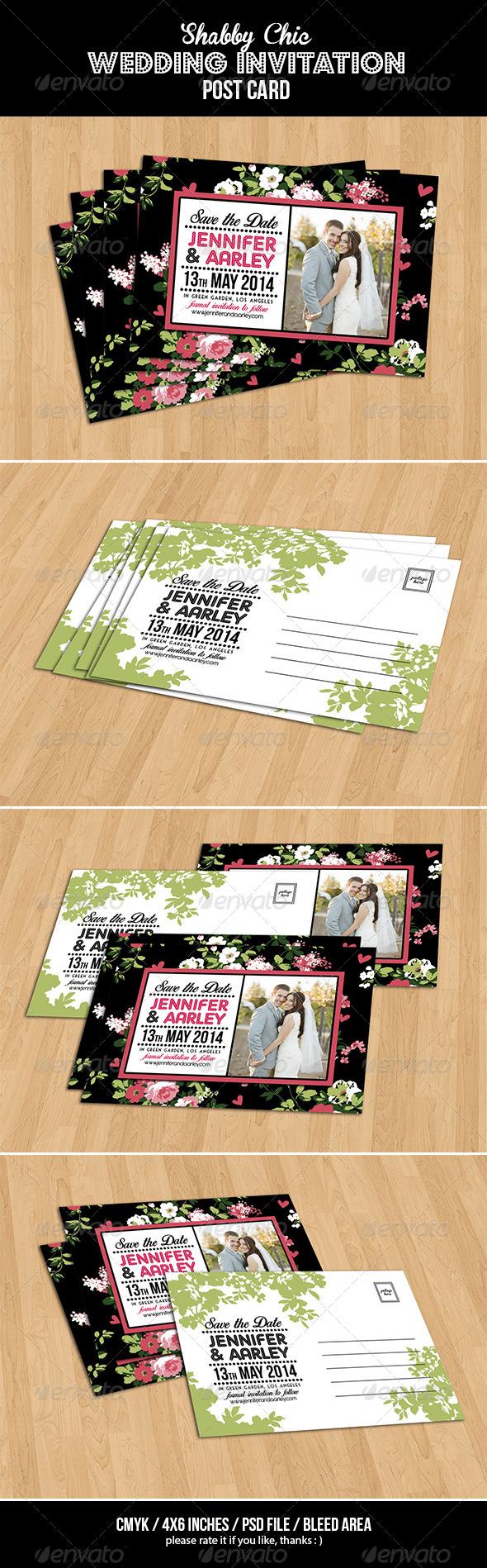 GraphicRiver Shabby Chic Wedding Invitation Post Card Vol.3 7104808