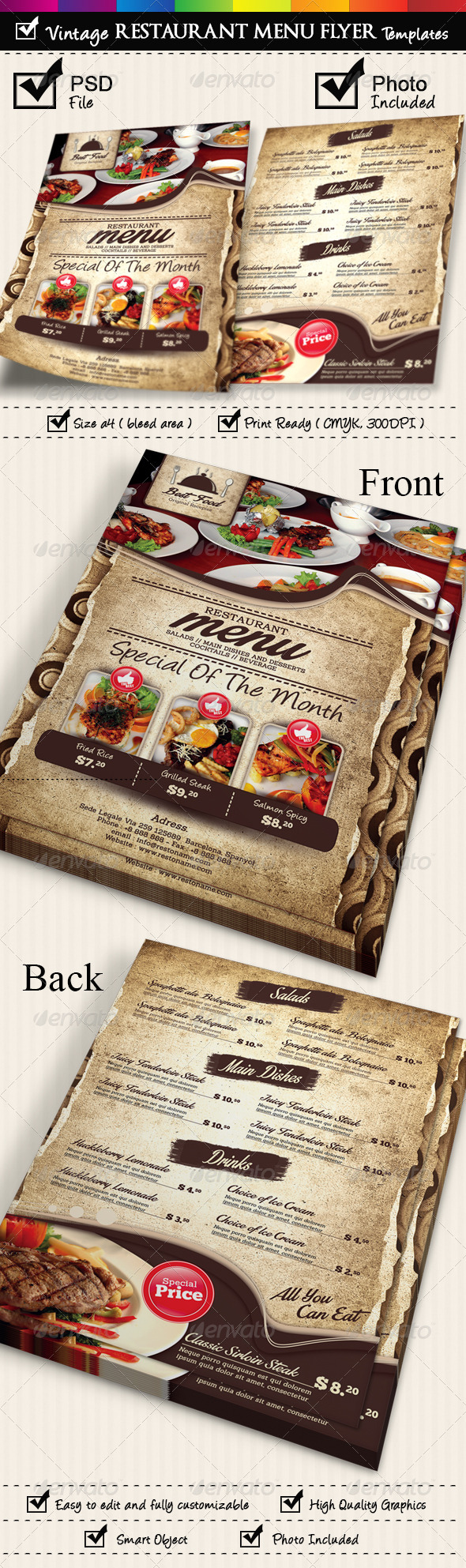 GraphicRiver Restaurant Menu Flyer Templates Vintage Texture 7105190