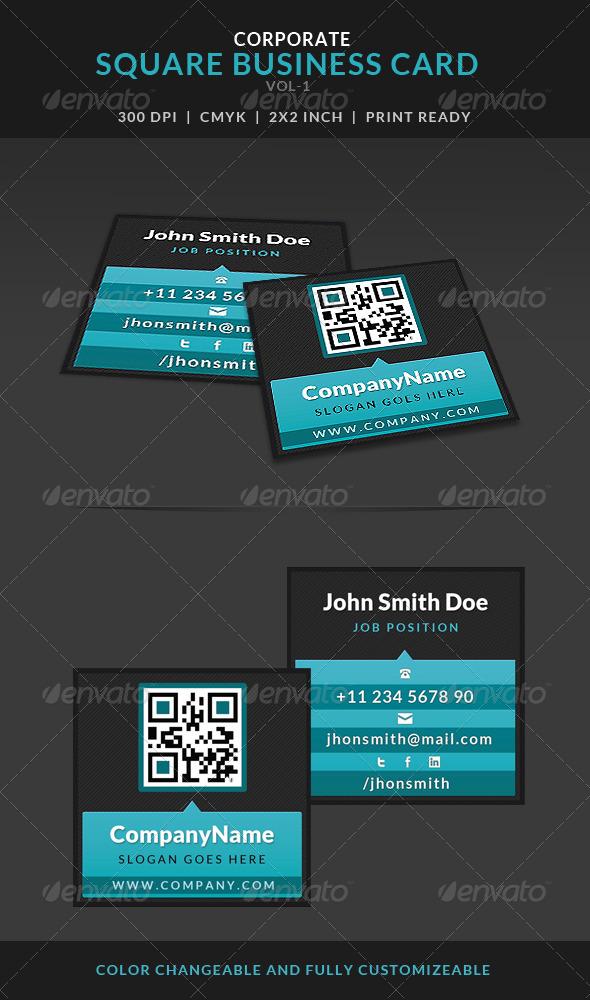 GraphicRiver Creative Corporate Square Business Card Vol-1 7105291