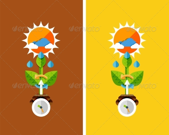 GraphicRiver Flat Design Nature Concept Plant Growth 7105375