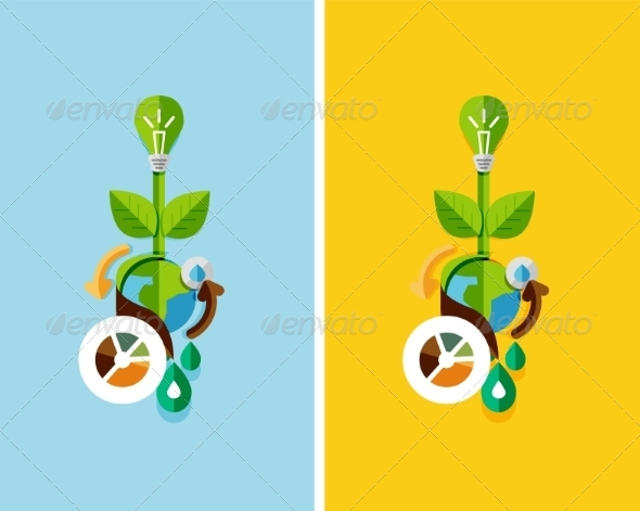GraphicRiver Flat Design Nature Concept Green Energy 7105380