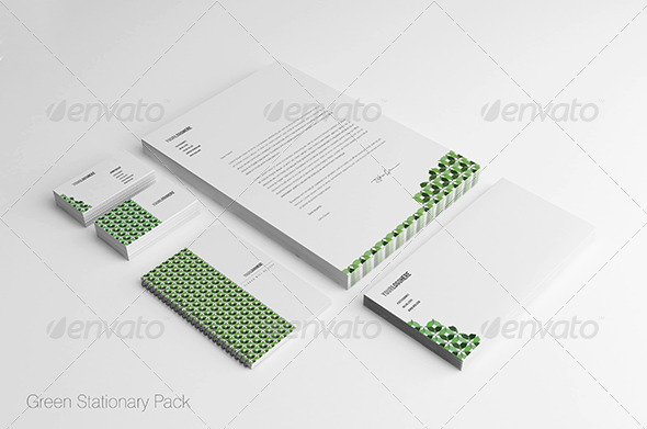 GraphicRiver Green Stationary Pack 7111107