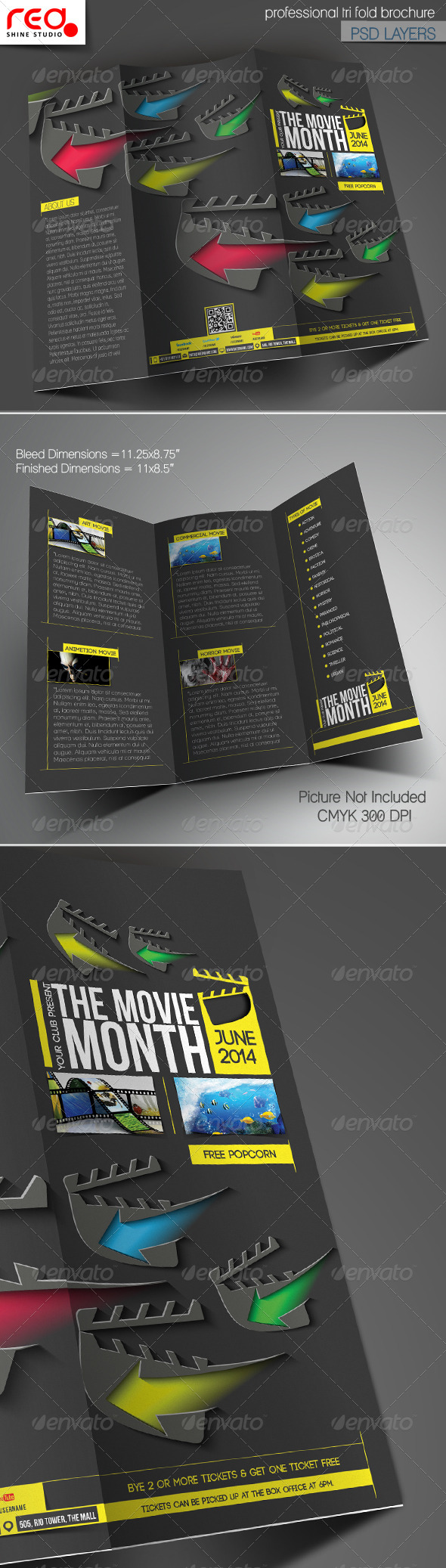 GraphicRiver The Movie Month Trifold Brochure Template 7111575