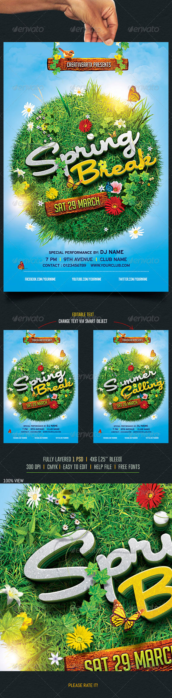 GraphicRiver Spring Break Summer Party Flyer 2 7089040
