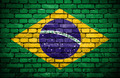 Brick wall with painted flag of Brazil - PhotoDune Item for Sale