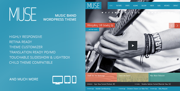 Muse: Music Band Responsive WordPress Theme - Music and Bands Entertainment