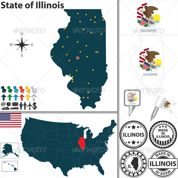 GraphicRiver Map of State Illinois USA 7116488