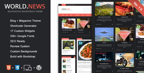 WorldNews is a powerful WordPress theme. WorldNews theme can be configured to focus on your news, blogging, etc. Theme is powered by the Redux Options Panel, w