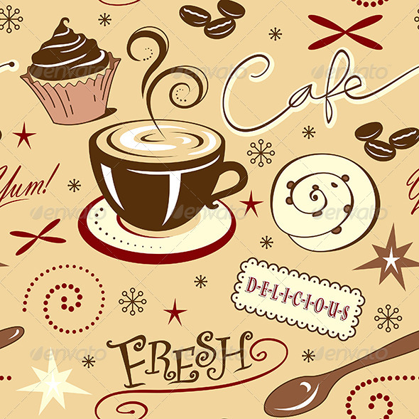 GraphicRiver Repeat Pattern Hot Fresh Coffee Shop and Sweets 7119392