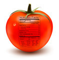 Tomato with a nutrition facts label. Concept of healthy food. - PhotoDune Item for Sale