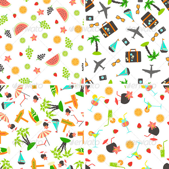 GraphicRiver Four Summer Seamless Patterns 7120644