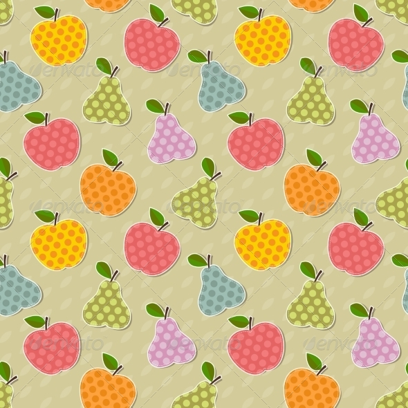 GraphicRiver Seamless Colorful Apple and Pear Pattern 7121807