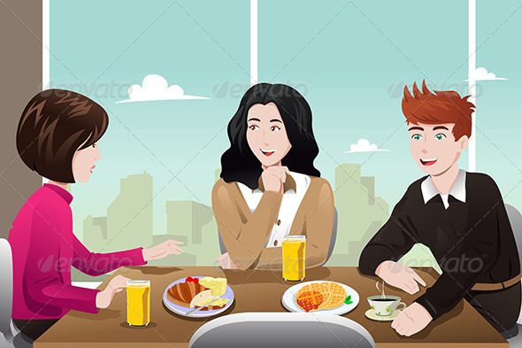 GraphicRiver Business People Eating Together 7121883