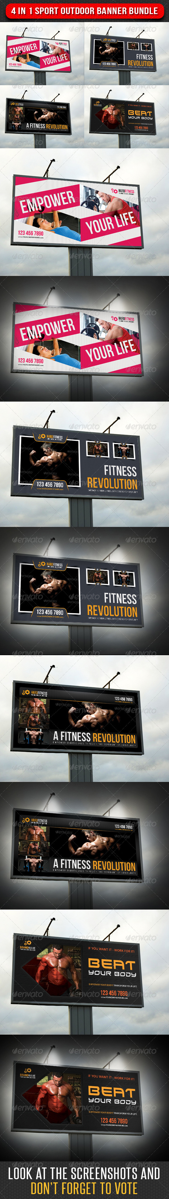 GraphicRiver 4 in 1 Sport Outdoor Banner Bundle 04 7126183