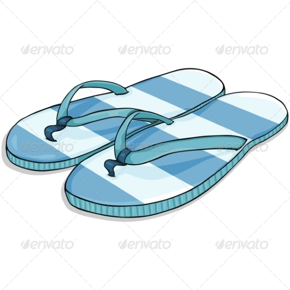 GraphicRiver Vector Cartoon Blue Stripped Beach Slippers 7126199