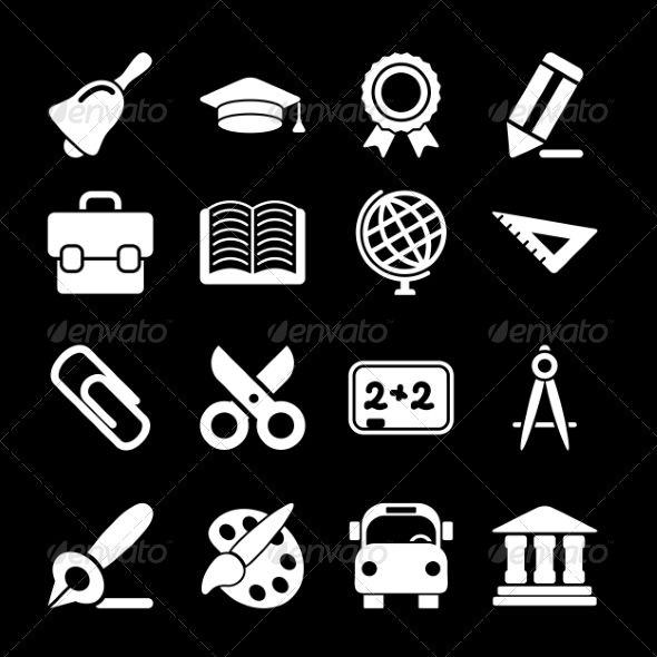 GraphicRiver White Education Icons 7126700