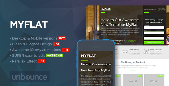 ThemeForest MYFLAT Real Estate Unbounce Template 7119266
