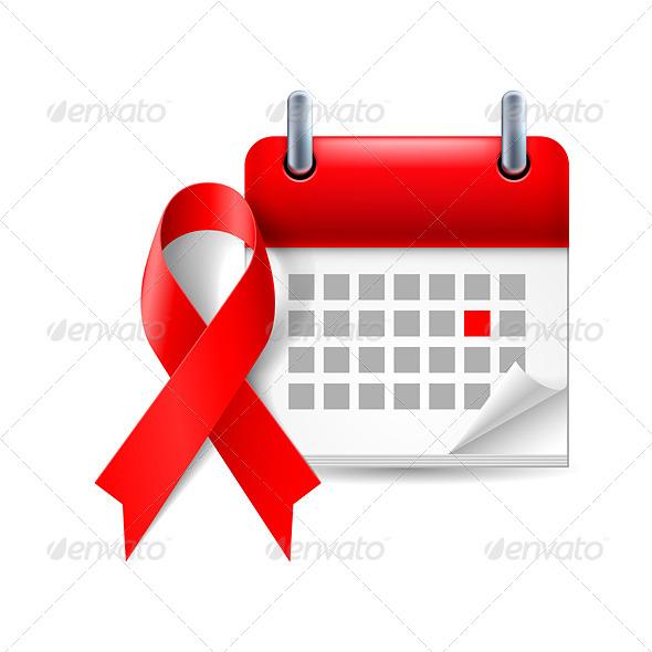 GraphicRiver AIDS Awareness Ribbon and Calendar 7127471