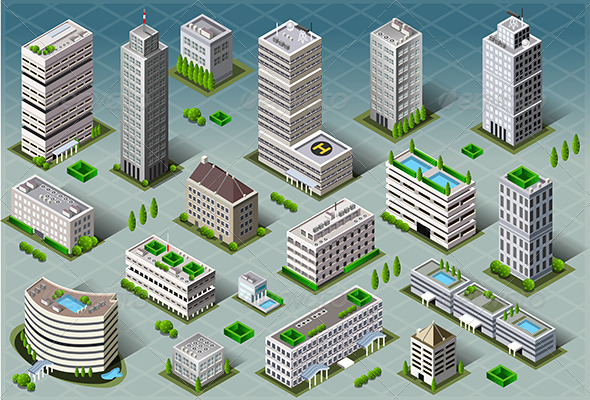GraphicRiver Isometric Buildings 7128859