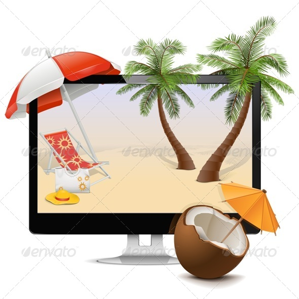 GraphicRiver Computer with Tropical Resort 7129027