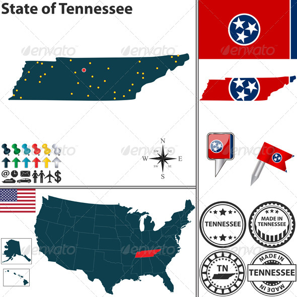 GraphicRiver Map of state Tennessee USA 7129037