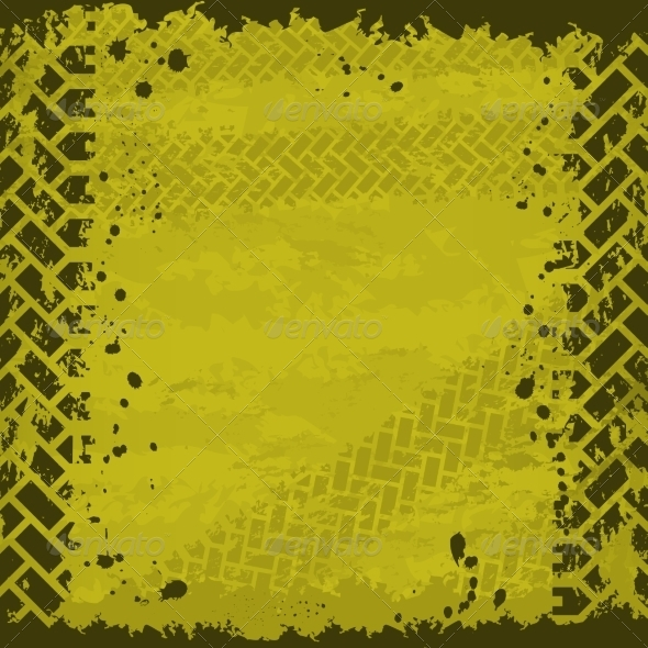 GraphicRiver Yellow Tire Track Background 7129297