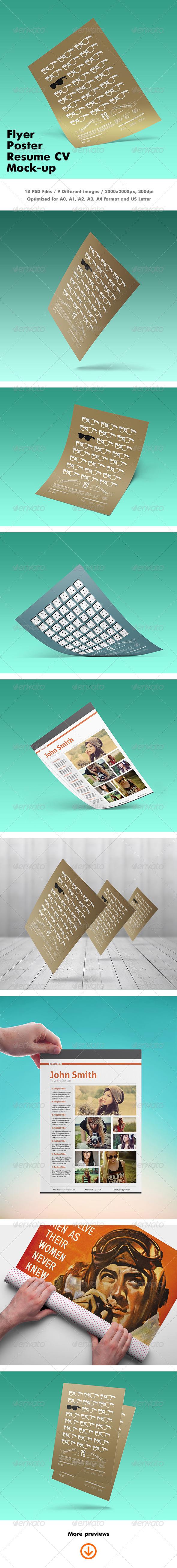GraphicRiver Flyer Poster Resume CV Mock-up 7129821
