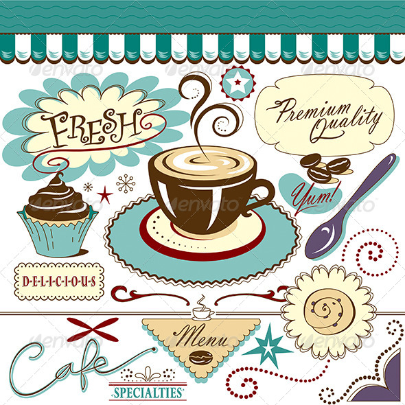 GraphicRiver Set Cafe Coffee Shop Items Beans Sticky Bun 7069277