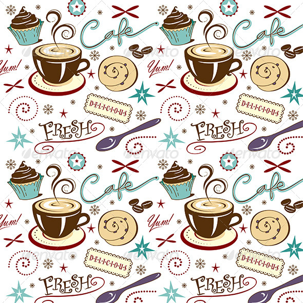 GraphicRiver Pattern Coffee Shop Cafe Sweets Sticky Bun 7069203