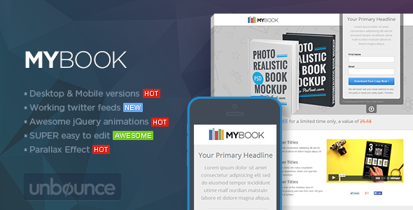 MYBook - Unbounce ebook Landing page by PixFort   ThemeForest