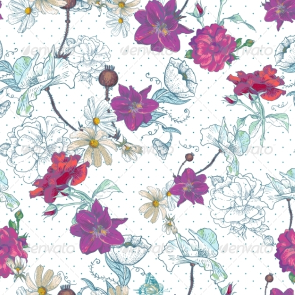 GraphicRiver Seamless Vintage Floral Background 7132521