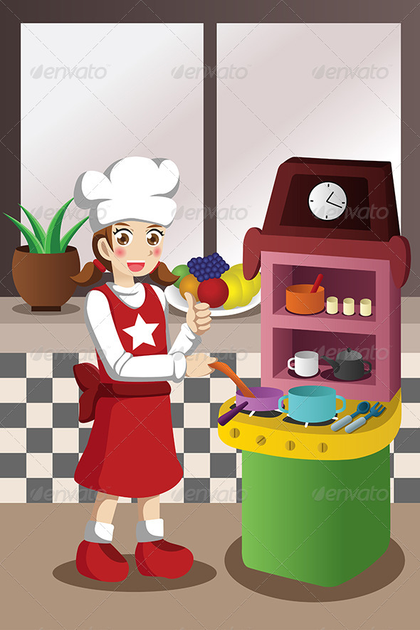 GraphicRiver Girl Playing with Kitchen and Cooking Toy 7133006