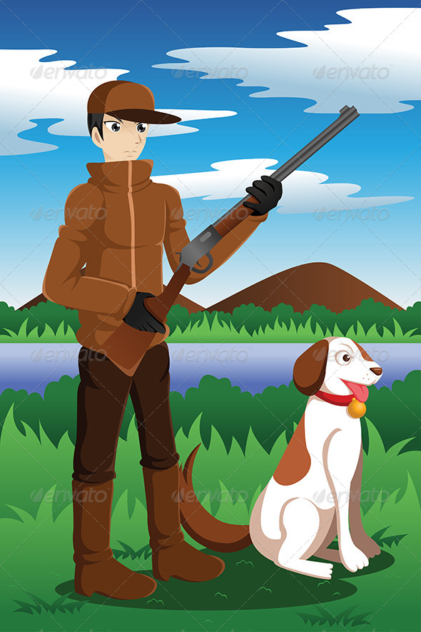 GraphicRiver Duck Hunter with His Dog 7133010