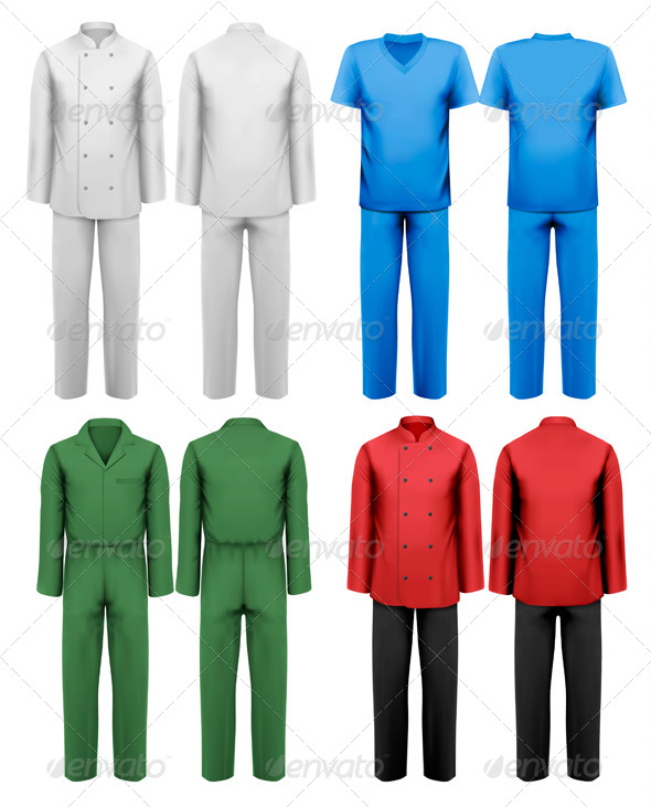 GraphicRiver Set of White and Colorful Work Clothes 7133334