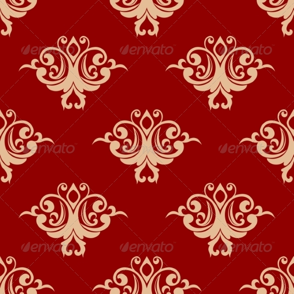 GraphicRiver Red on Beige Ffloral Seamless Pattern 7133377