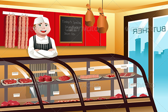 GraphicRiver Butcher in a Meat Shop 7135467