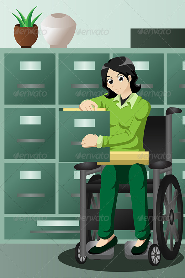 GraphicRiver Businesswoman in Wheelchair Working in the Office 7136000
