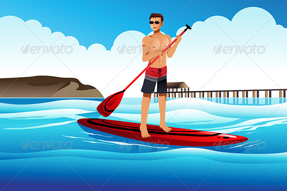GraphicRiver Man Paddle Boarding in the Ocean 7136049