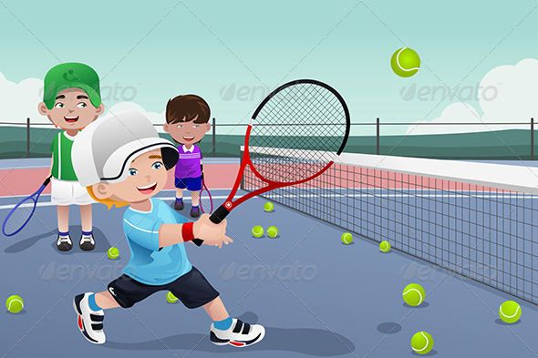 GraphicRiver Kids in Tennis Practice 7136862