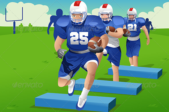 GraphicRiver Kids in American Football Practice 7136876