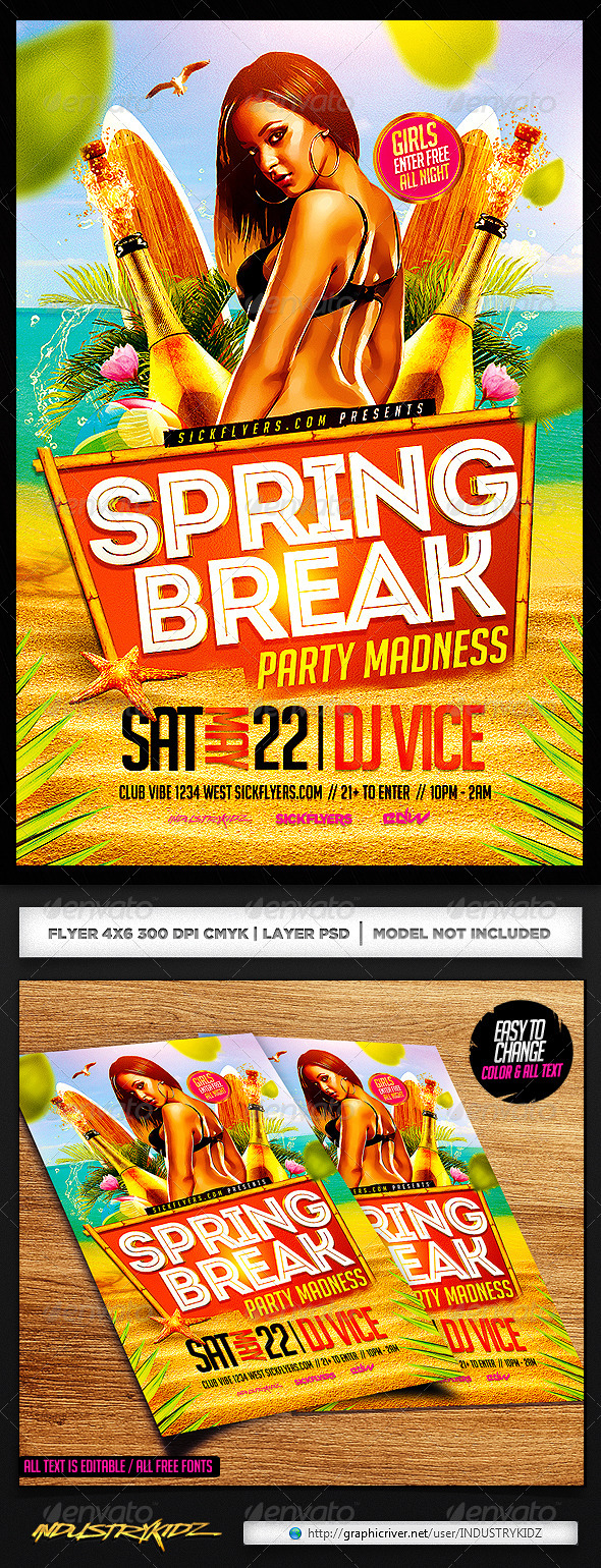 GraphicRiver Spring Break Party Flyer Template PSD 7137154