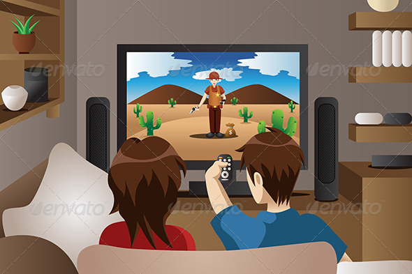 GraphicRiver Couple Watching Television at Home 7137385