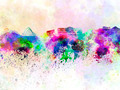 Athens skyline in watercolor background - PhotoDune Item for Sale