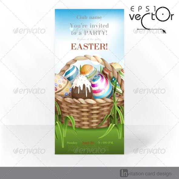 GraphicRiver Easter Background With A Basket 7138377