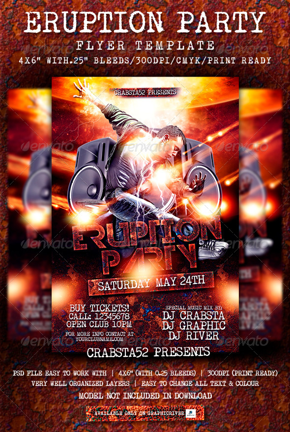 GraphicRiver Eruption Party Flyer Template 7140287
