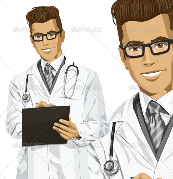 GraphicRiver Hipster Doctor Man with Clipboard 7140724